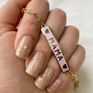 In-Stock Mama Enamel Heart ID Bracelet