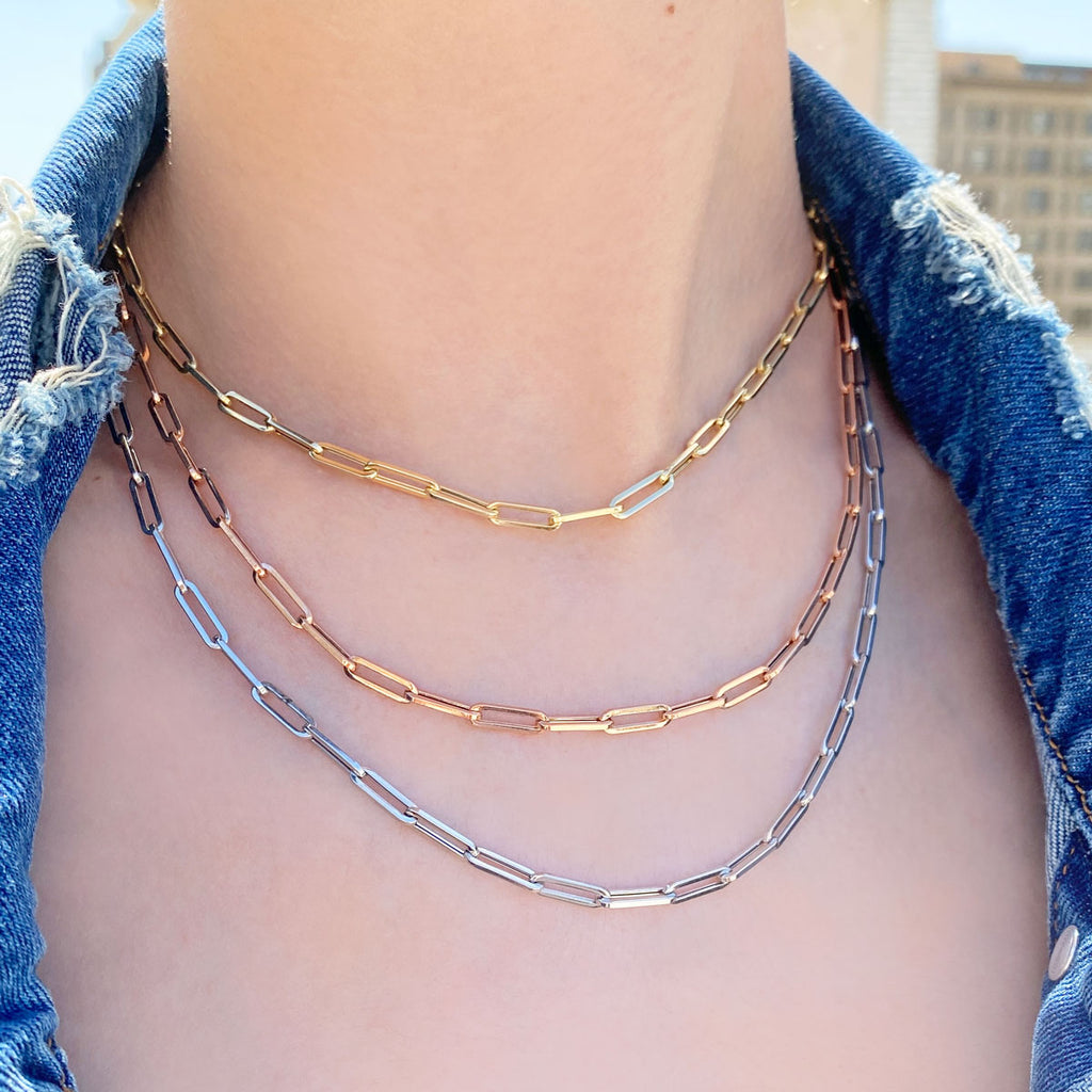 14K Paper Clip Chain Necklace