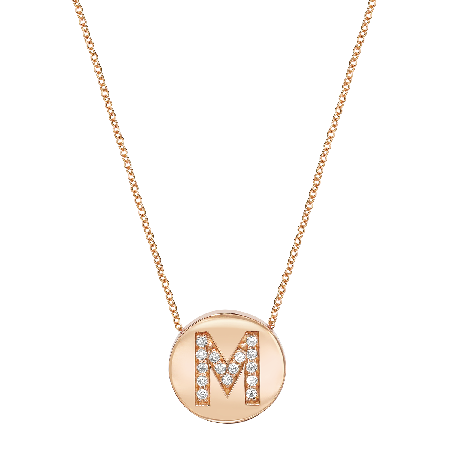Diamond Initial Coin Necklace