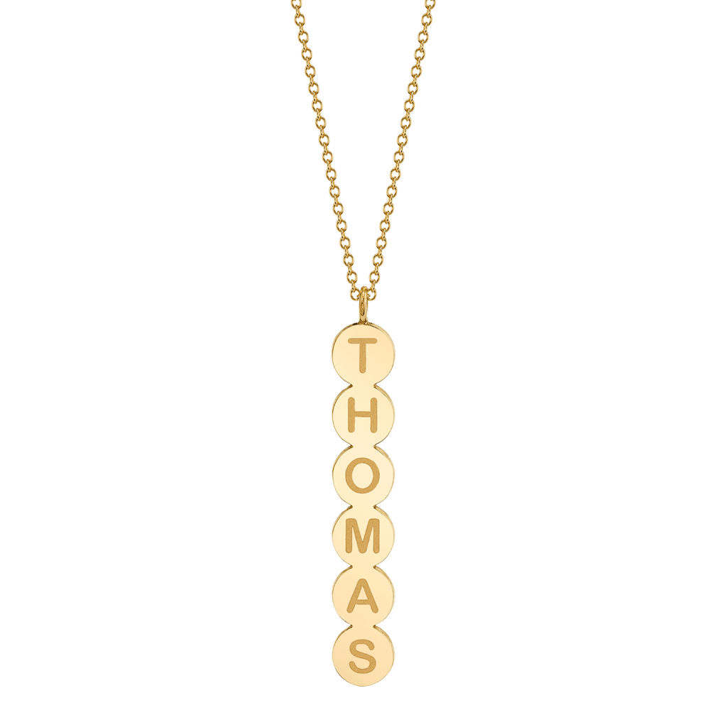 Bubble Round Vertical ID Necklace