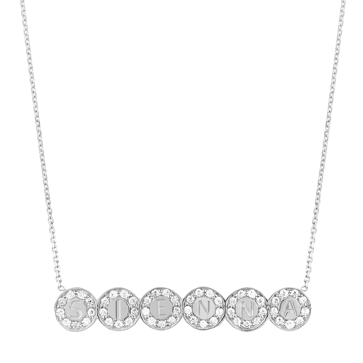 Bubble 6 Round Engravable ID Diamond Necklace