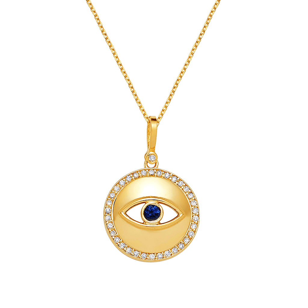 Round Diamond Evil Eye Necklace