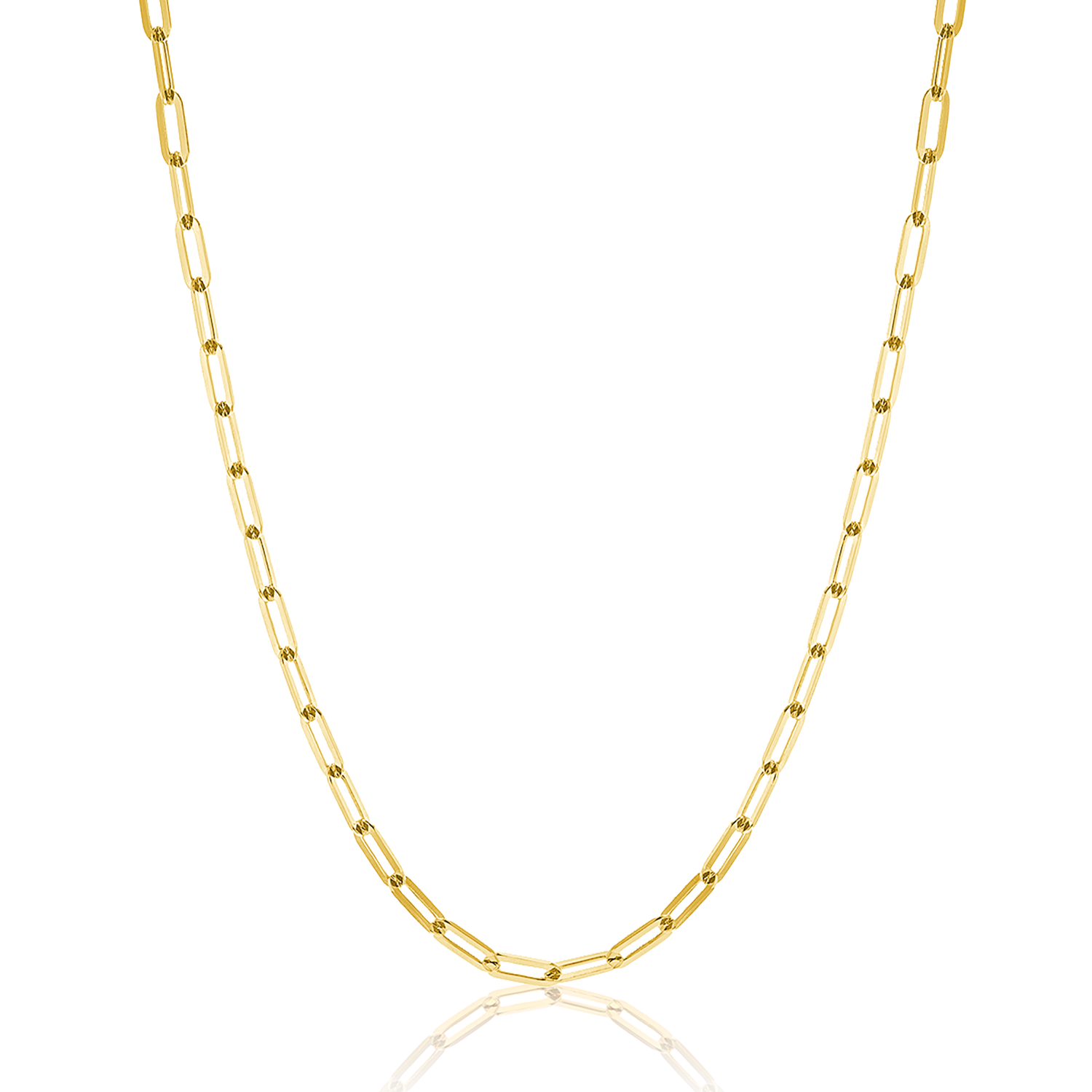14K Diamond Cut Oval Link Chain Necklace