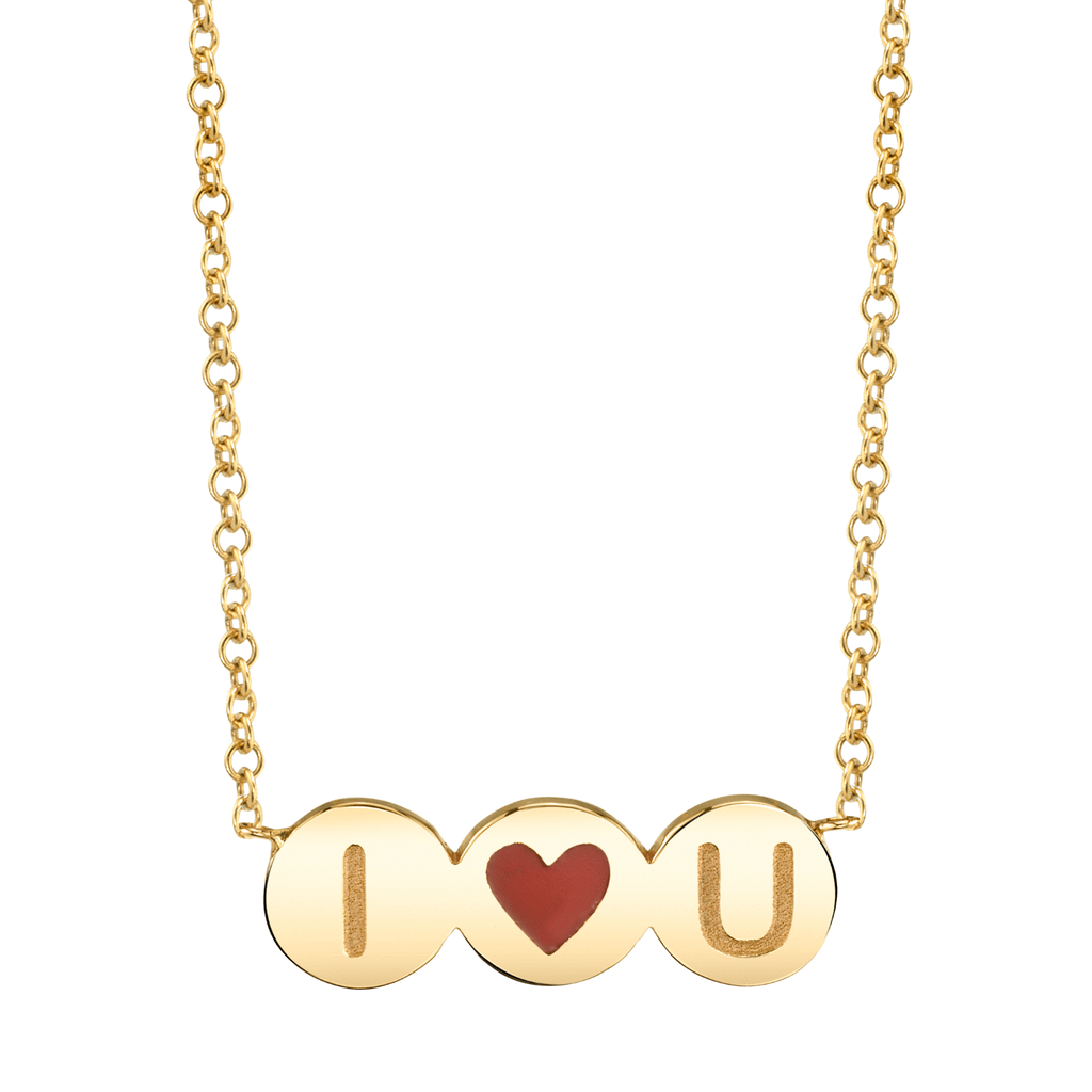 Kids Enamel Heart Initial Necklace