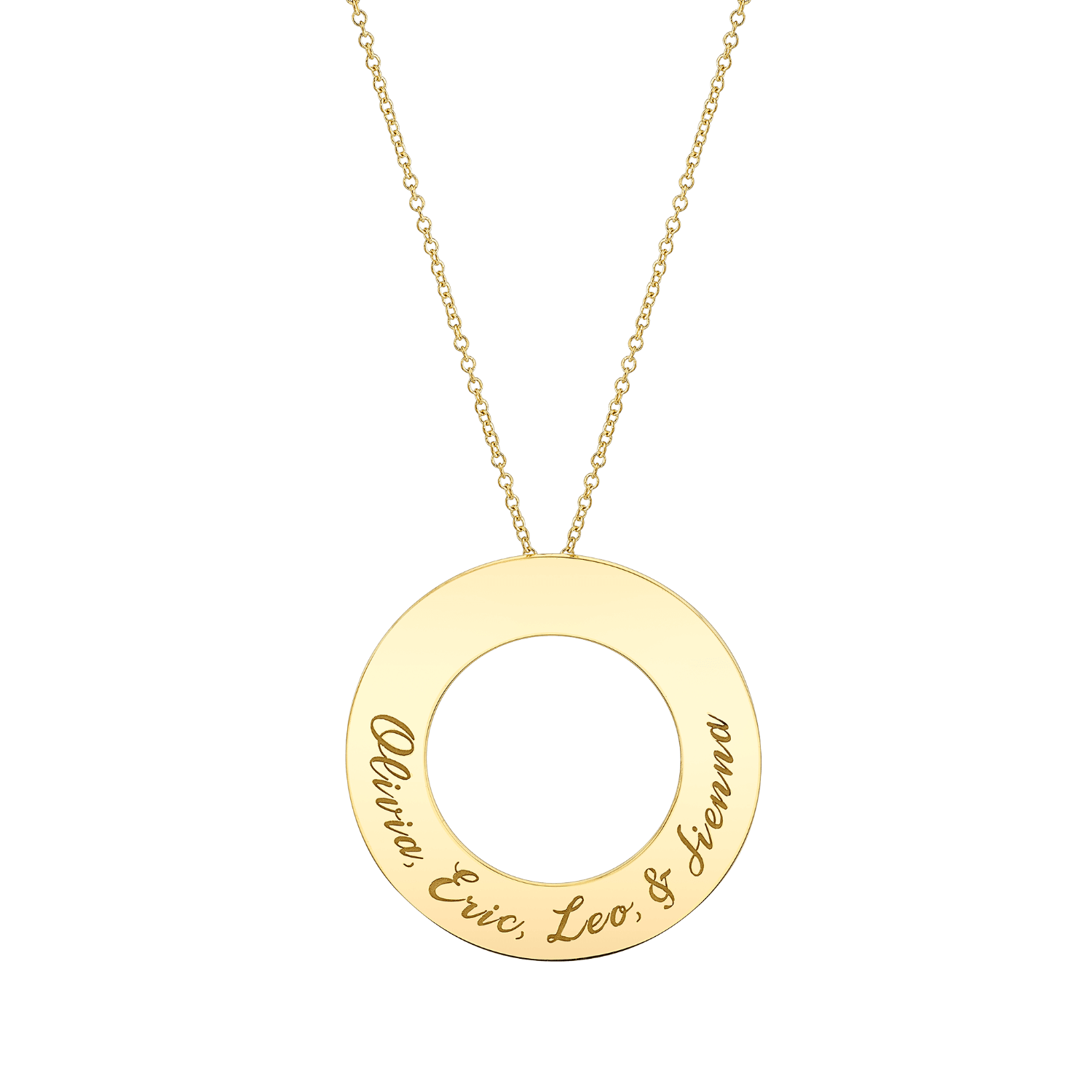 Engraved Circle Disc Necklace