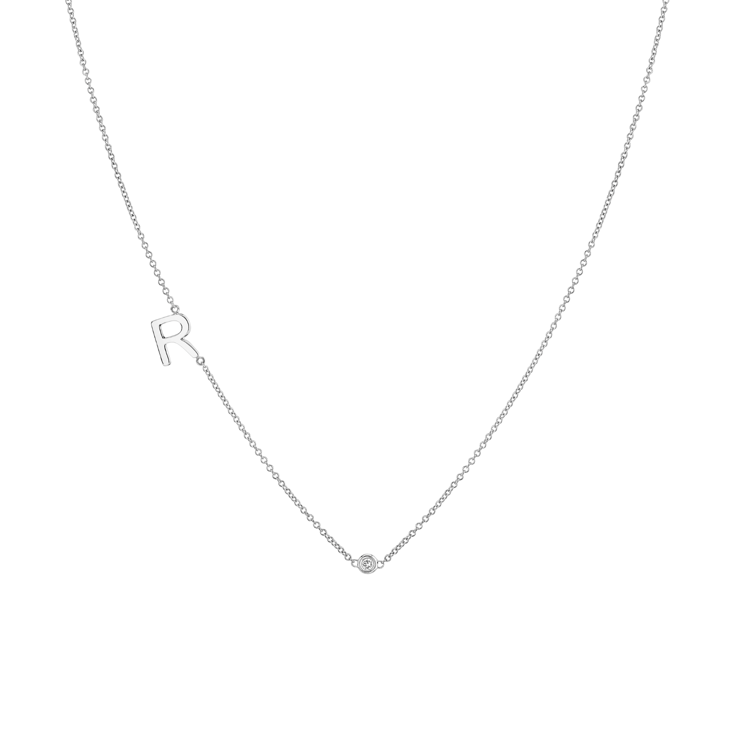 Single Letter Diamond Bezel Necklace