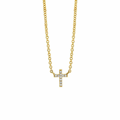 Petit Pave Cross Necklace
