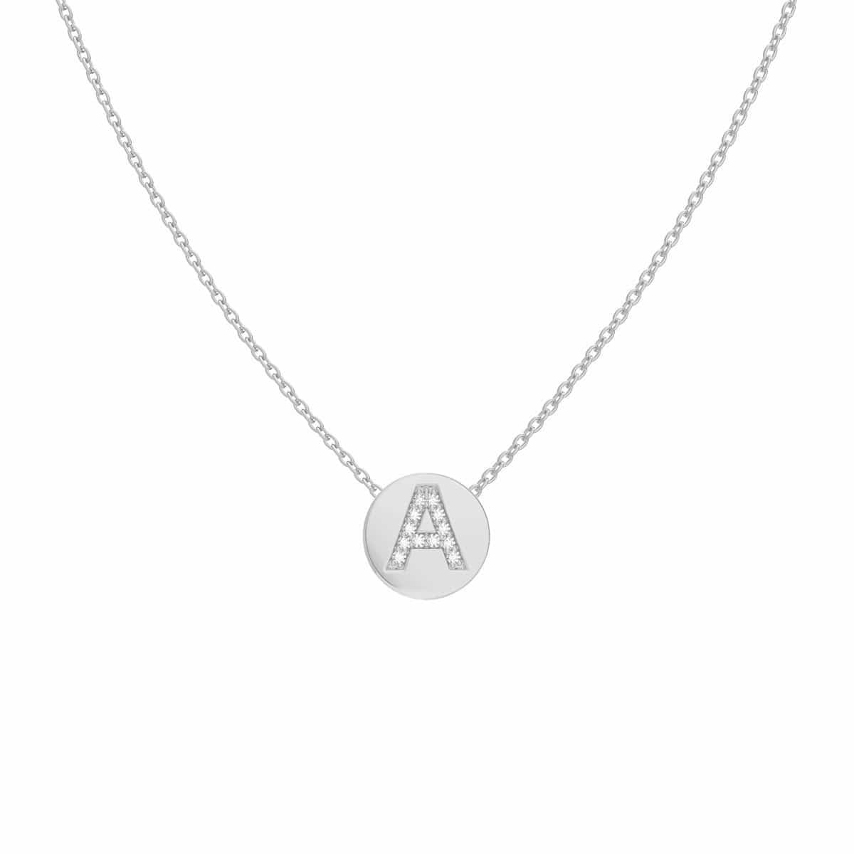 Petit Pave Initial Coin Necklace