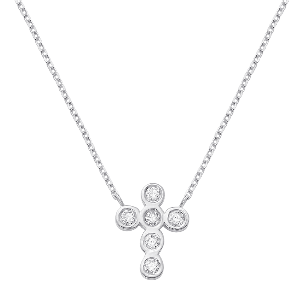 Kids Diamond Bezel Cross Necklace