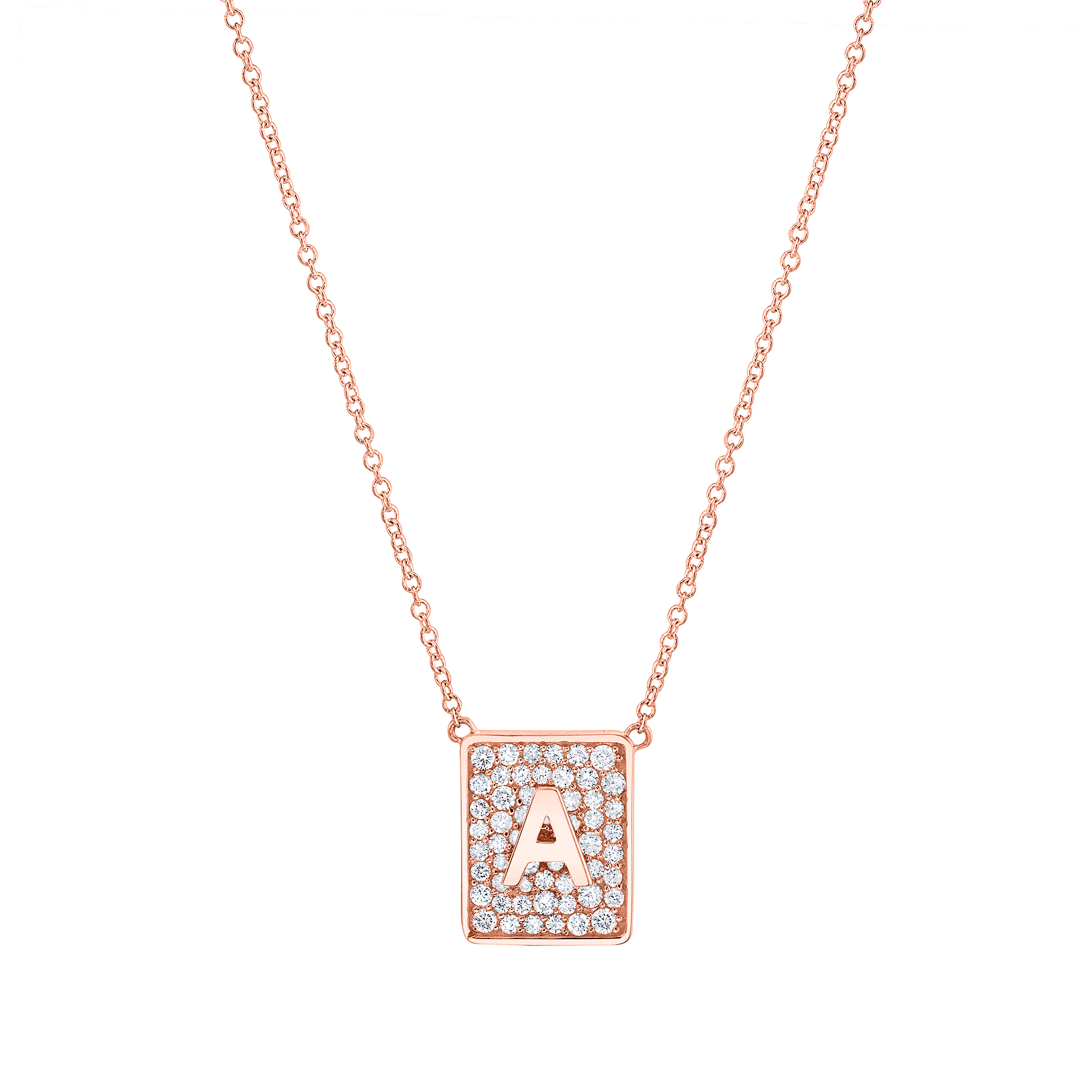 Square Diamond Initial Necklace