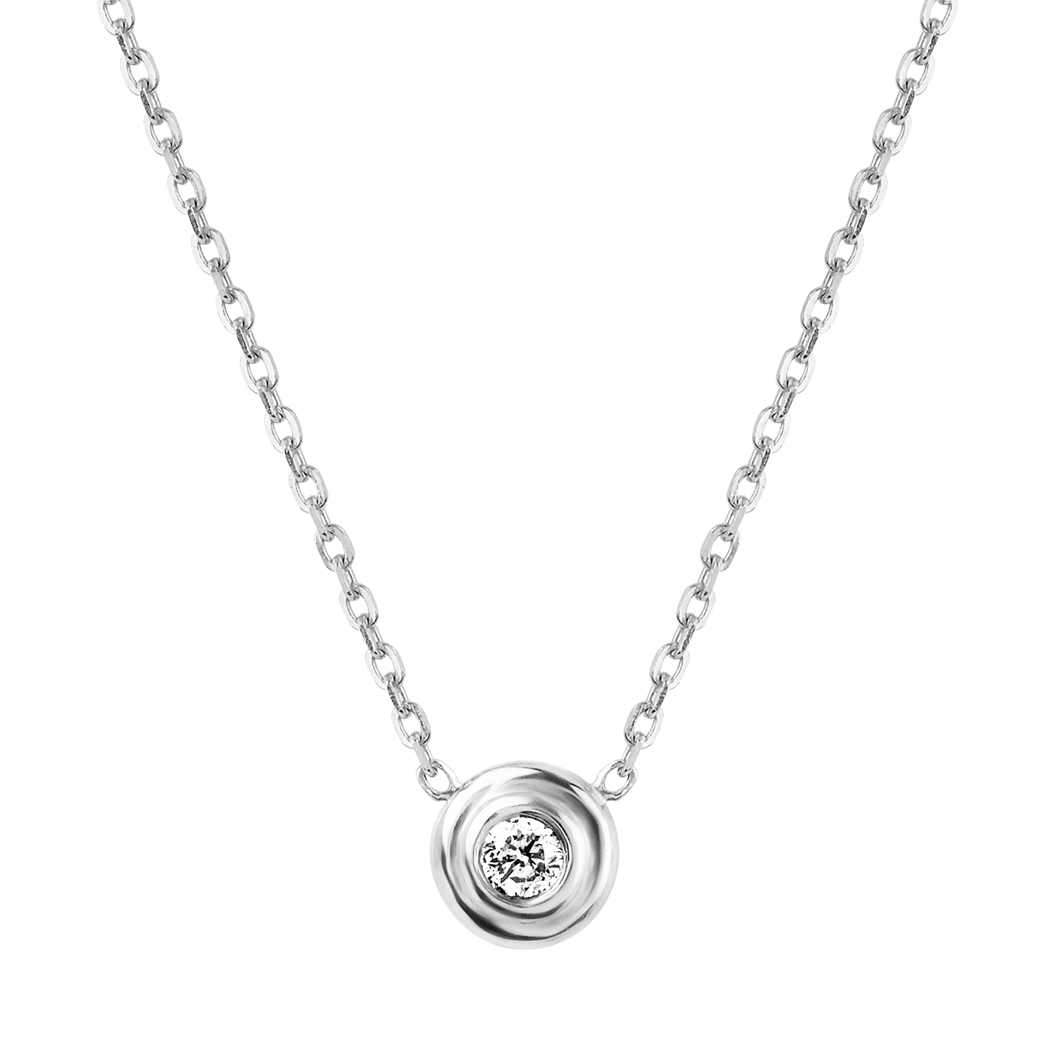 Kids Step Bezel Solitaire Necklace