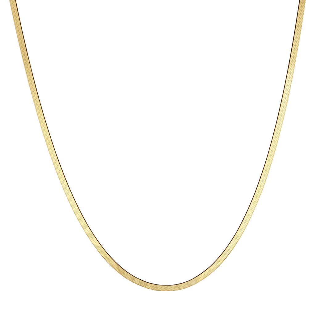 14K Gold Thin Herringbone Necklace