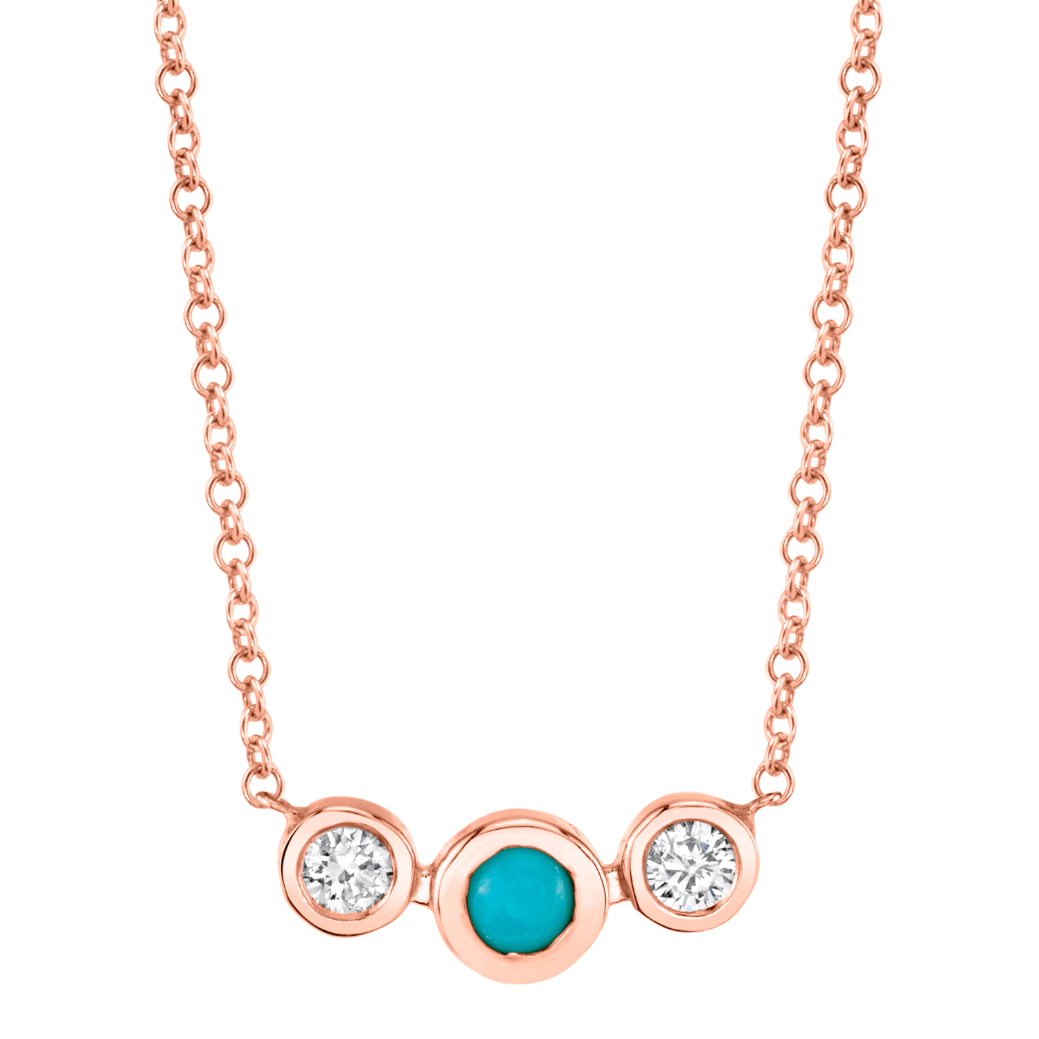 Turquoise Diamond Bezel Necklace