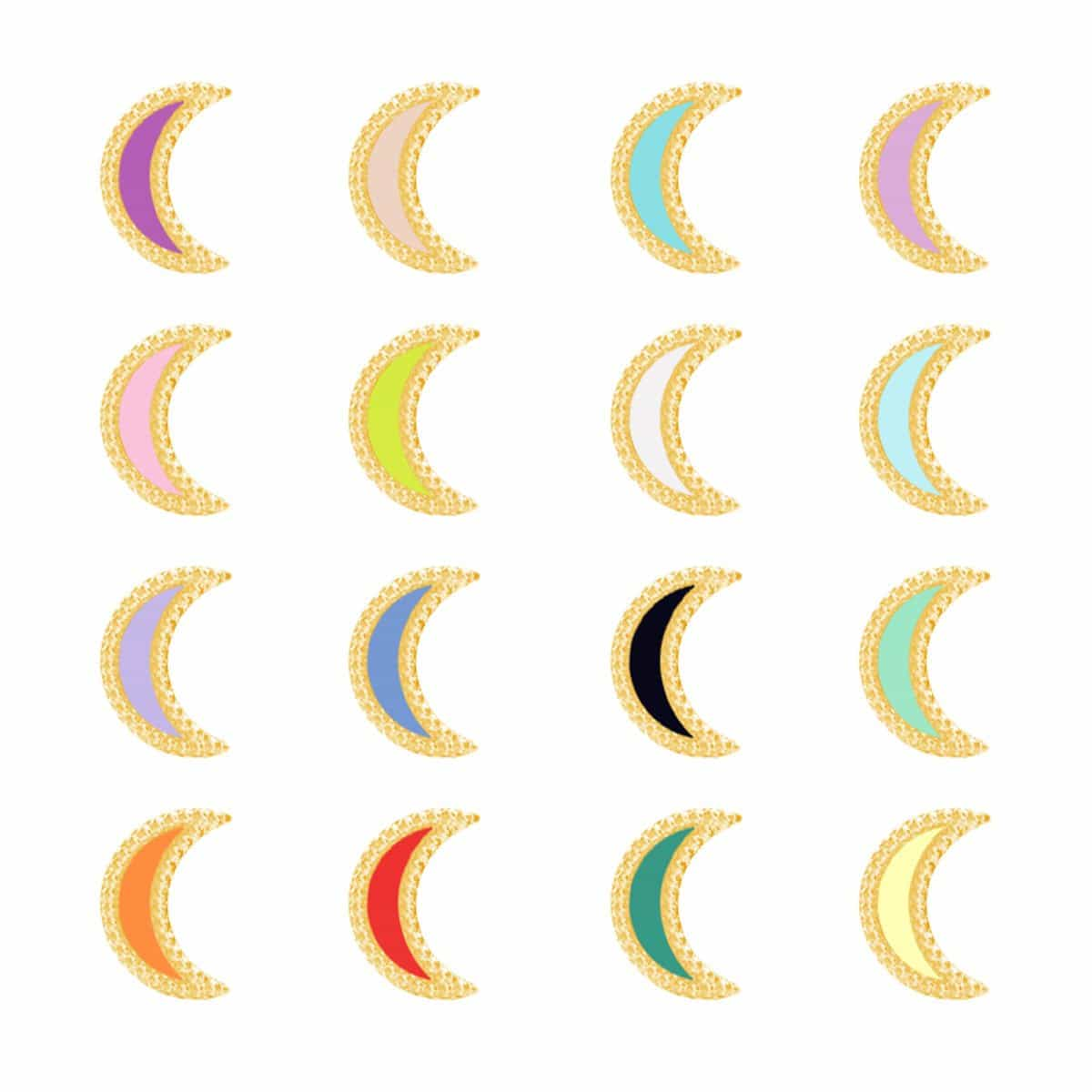 Petit Enamel Moon Earrings
