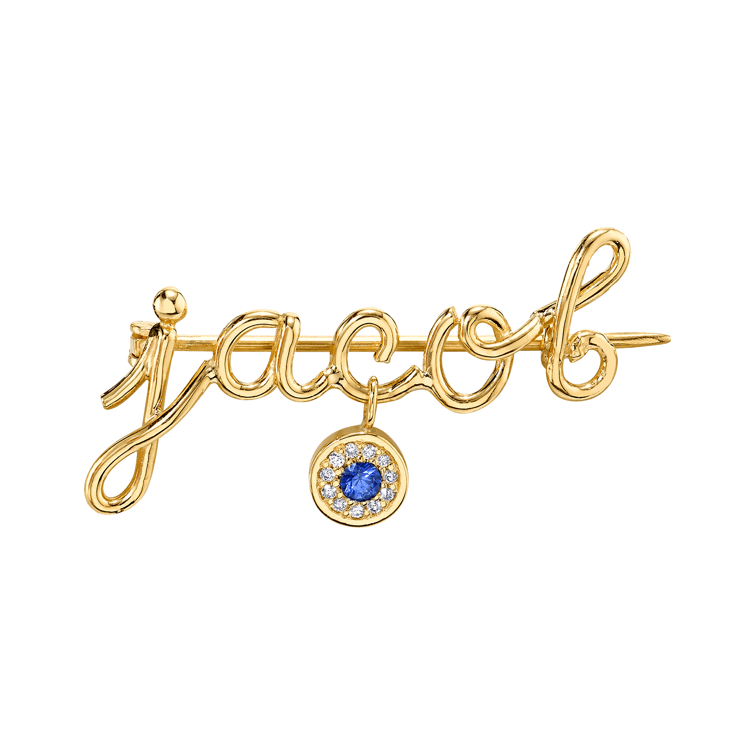 Mini Letter Name Pin with Round Eye Charm