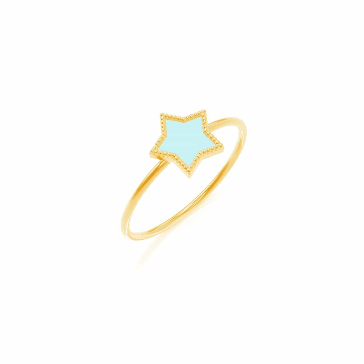Moyen Enamel Star Ring