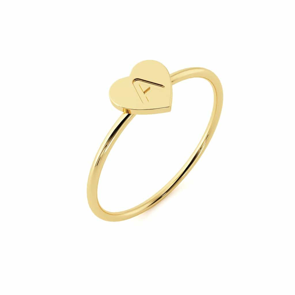 Moyen Initial Heart Ring