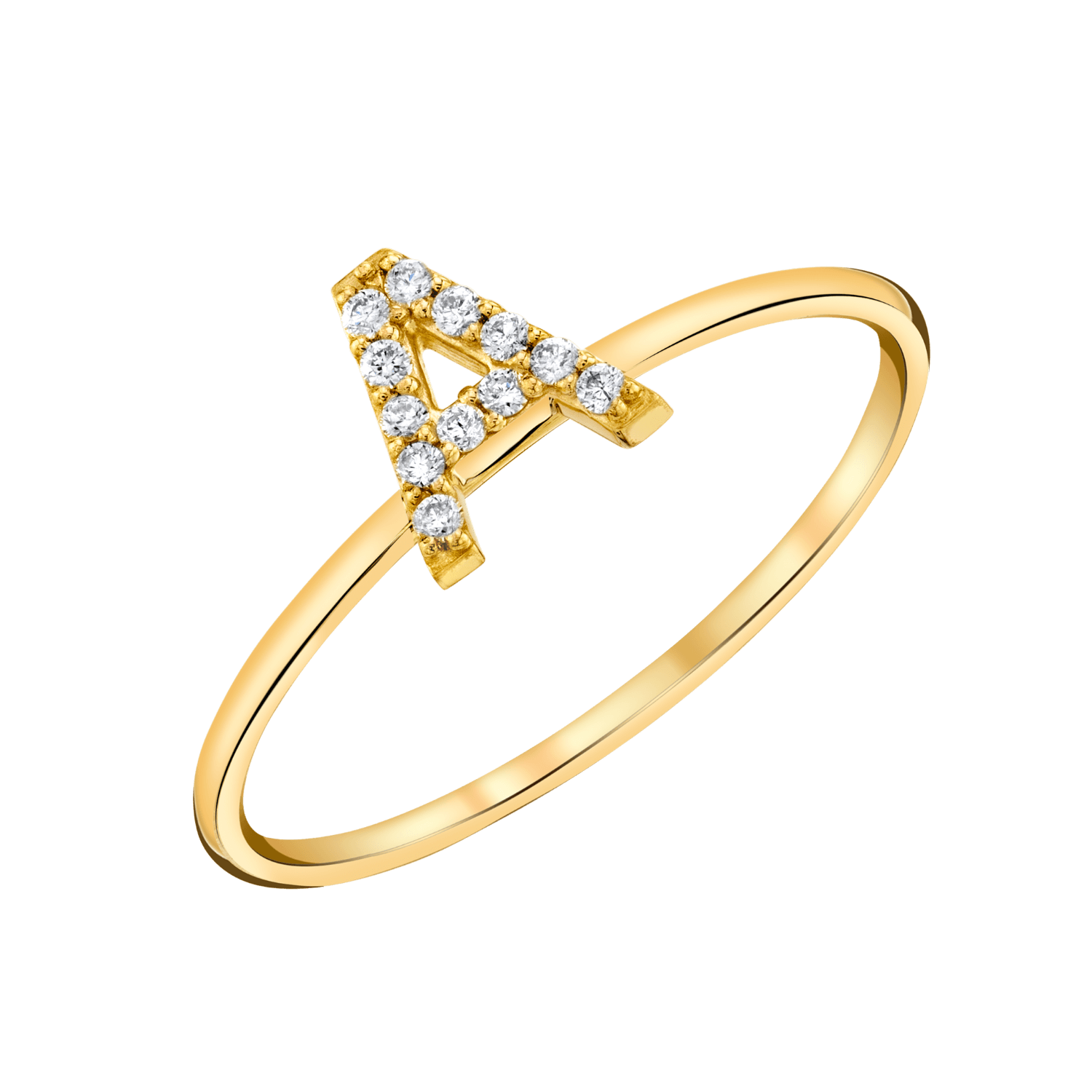 Diamond Pave Letter Ring