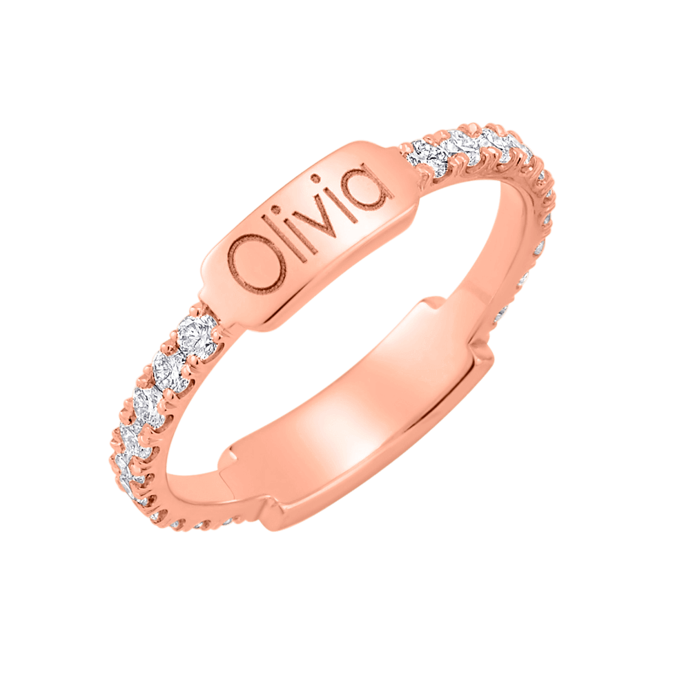 Moyen Diamond U-Pave Engraved Ring