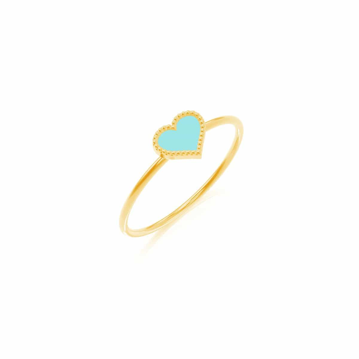 Petit Enamel Heart Ring