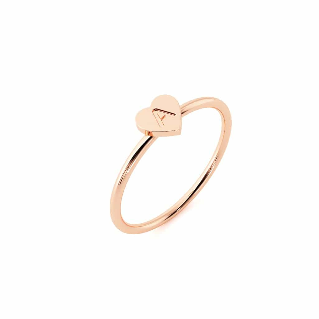 Petit Initial Heart Ring