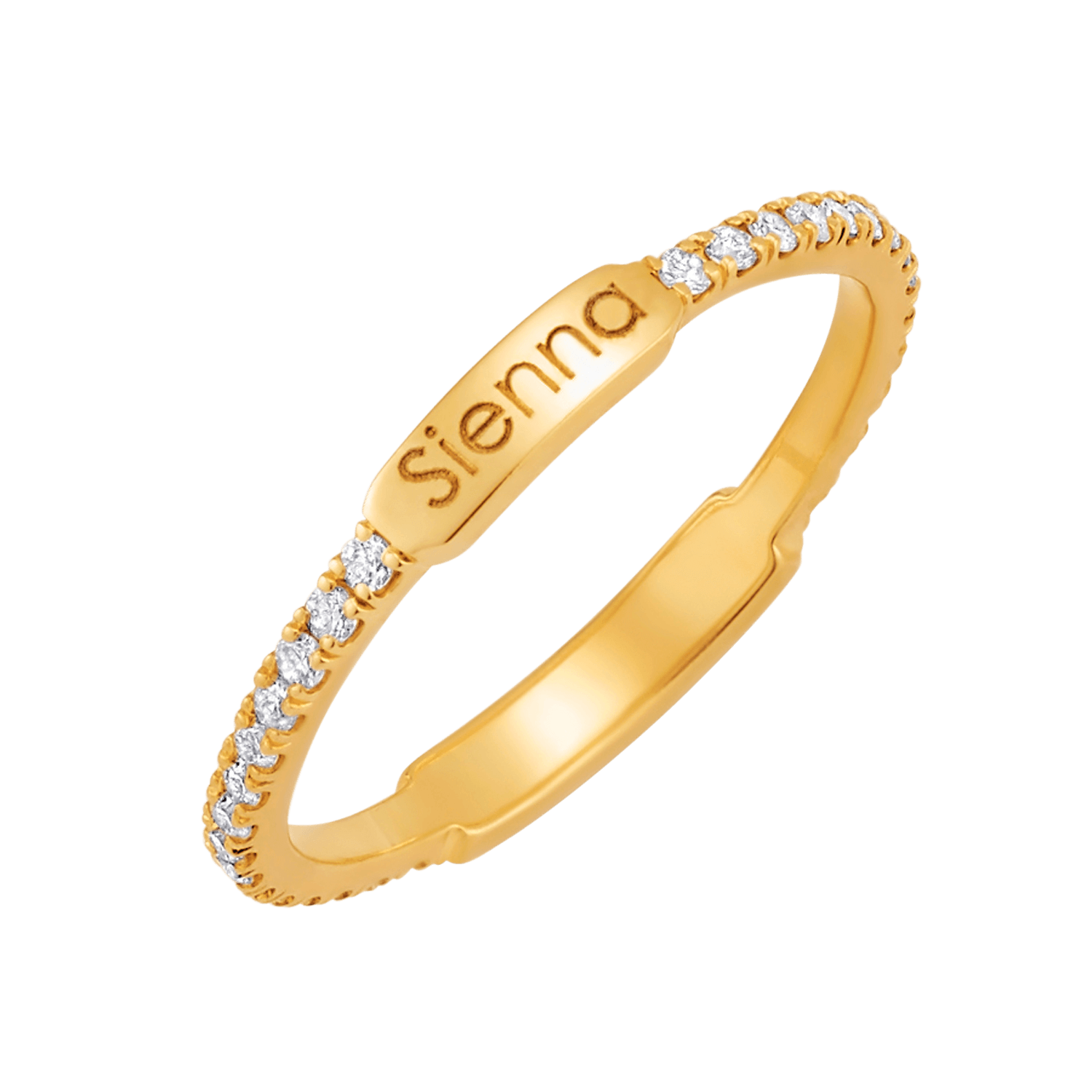Petit Diamond U-Pave Engraved Ring