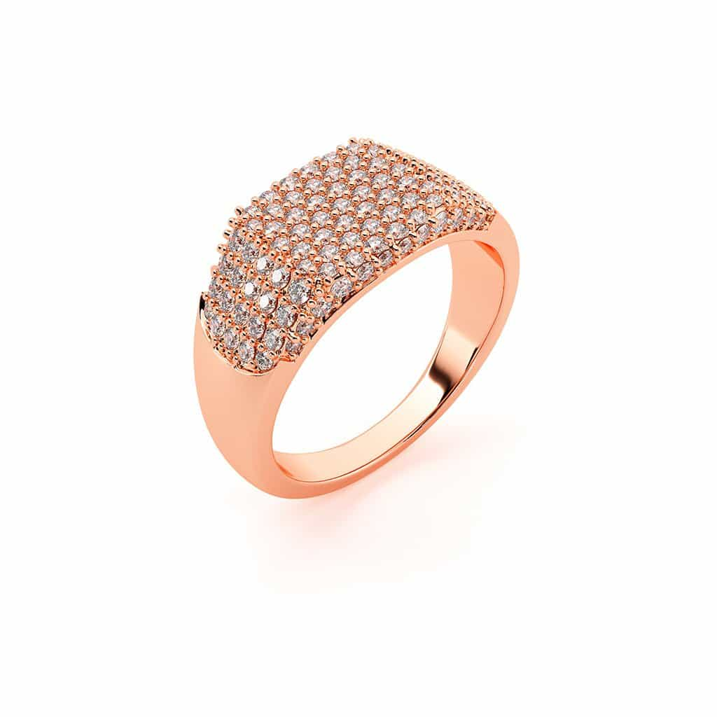 Shapes Rectangle Pave Ring Baby Gold