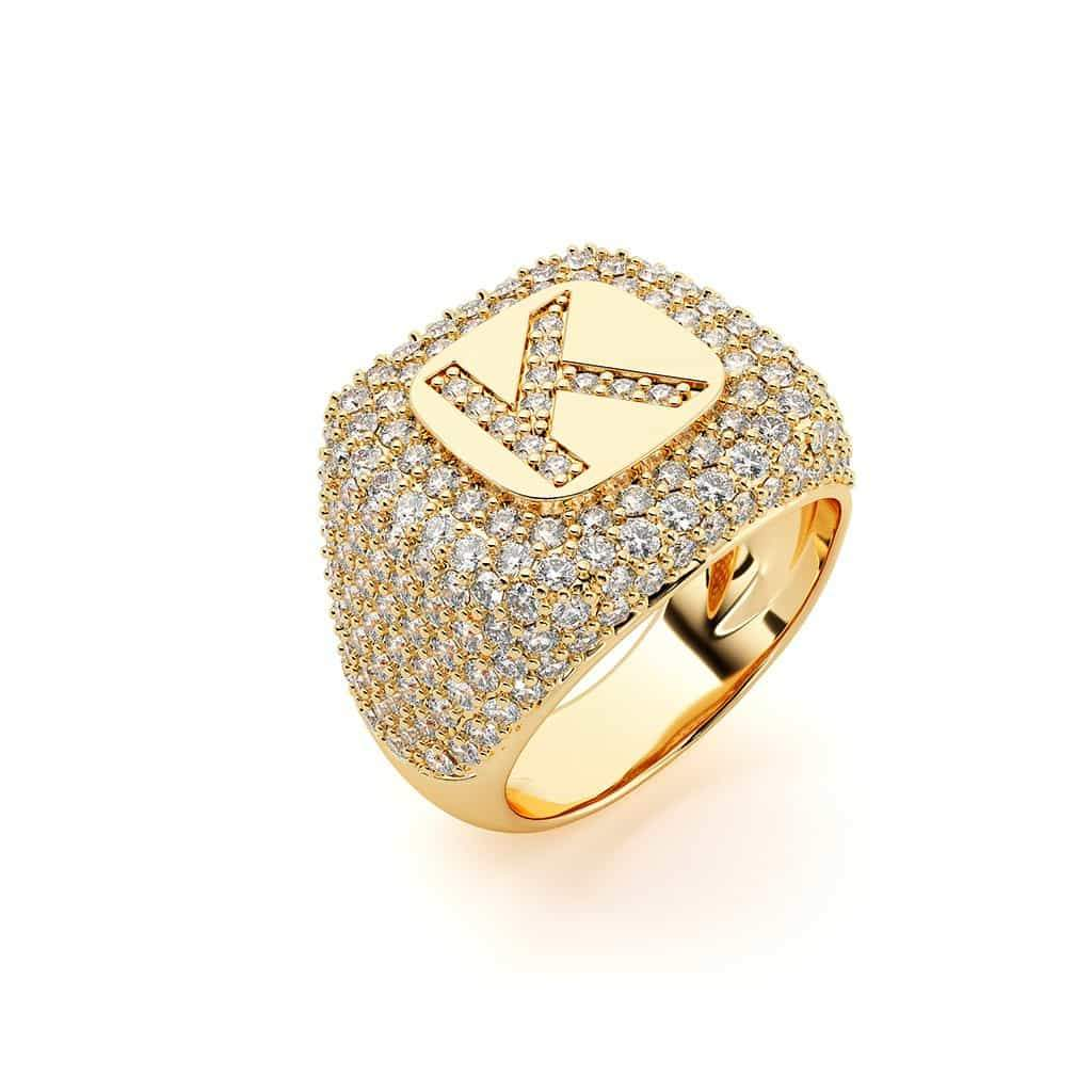 Diamond Pave Initial Signet Ring