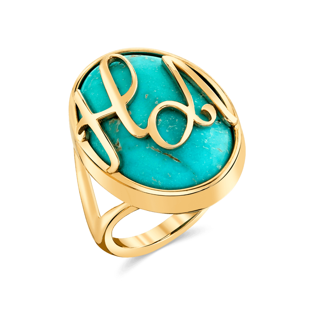 Turquoise Heirloom Initial Ring