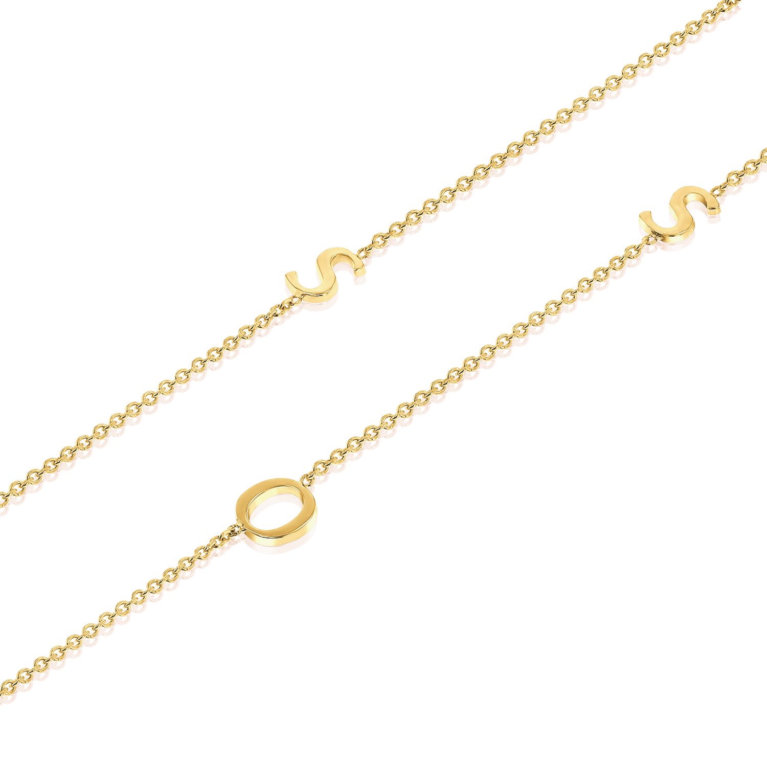14K Gold Asymmetrical Multi Initial Necklace