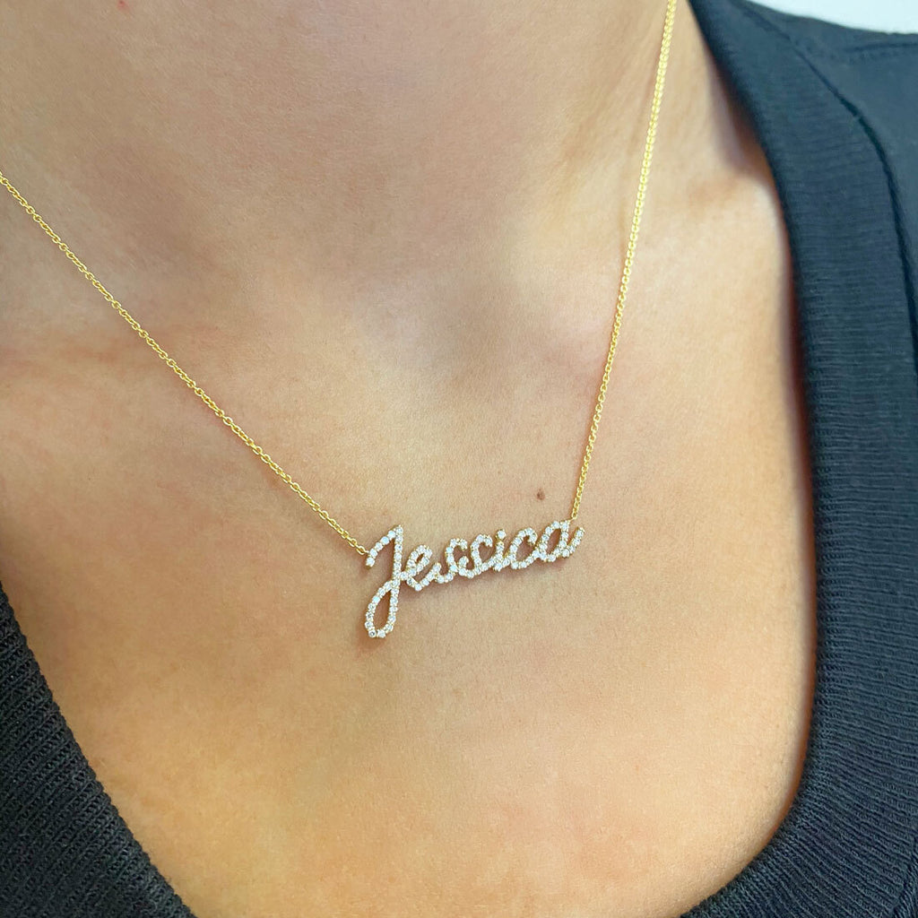 Diamond Custom Script Name Necklace