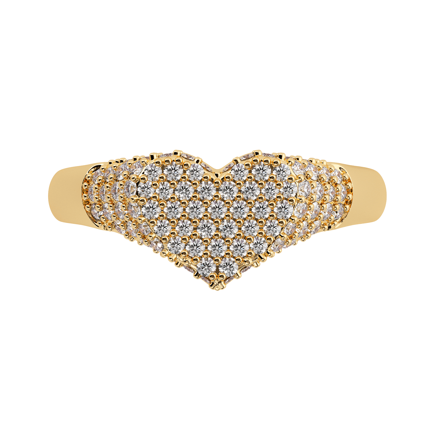 Diamond Heart Pave Signet Ring