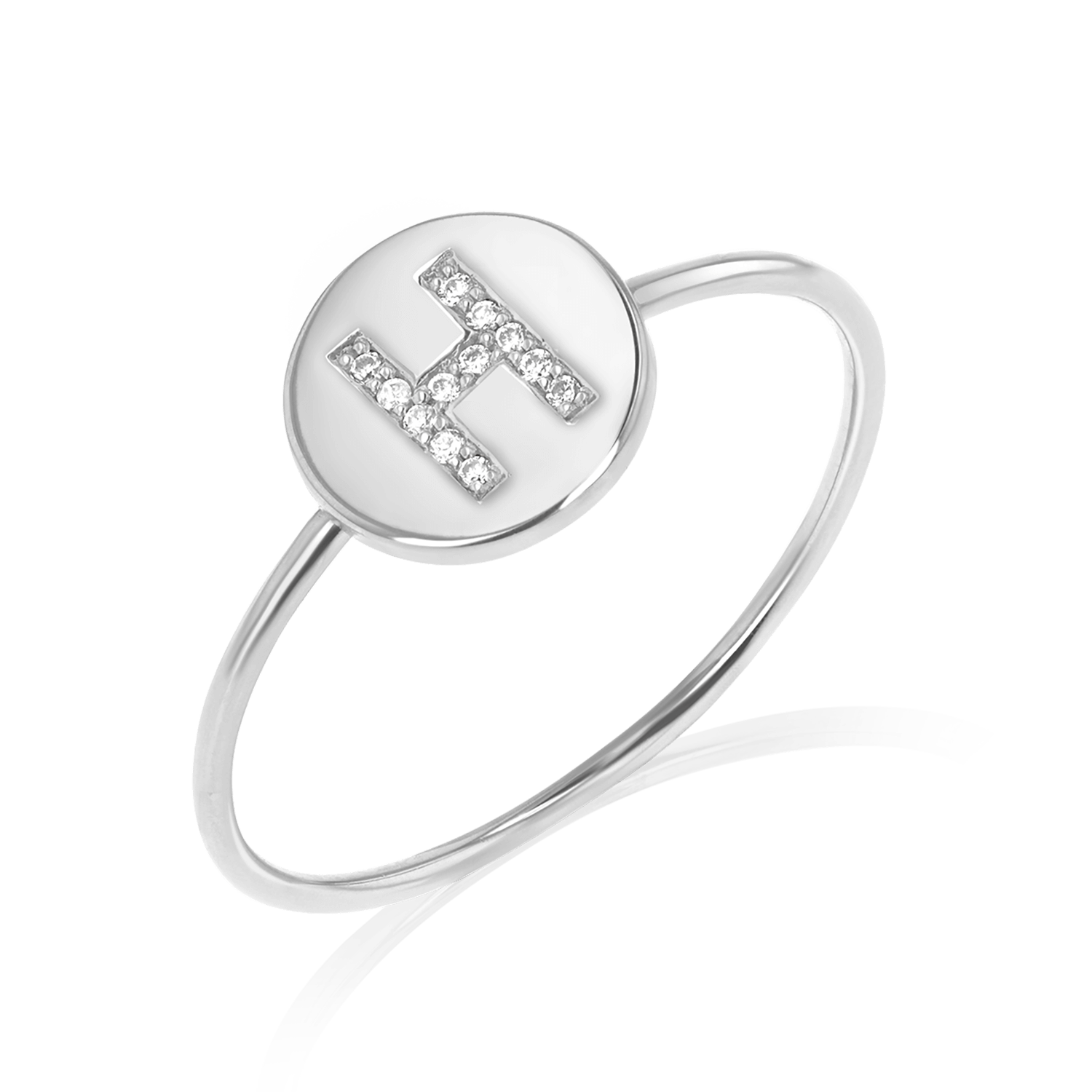 Diamond Initial Coin Ring