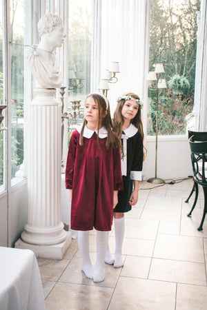 Alexandra Dress Berry Velvet Peter Pan Collar