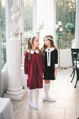 Alexandra Dress Berry Velvet Peter Pan Collar white tights