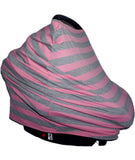 High-Quality Car Seat / Nursing Cover:  Pink/Grey w/ topknot hat and drawstring travel bag