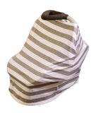 High-Quality Car Seat / Nursing Cover: Grey/White w/ topknot hat and drawstring travel bag