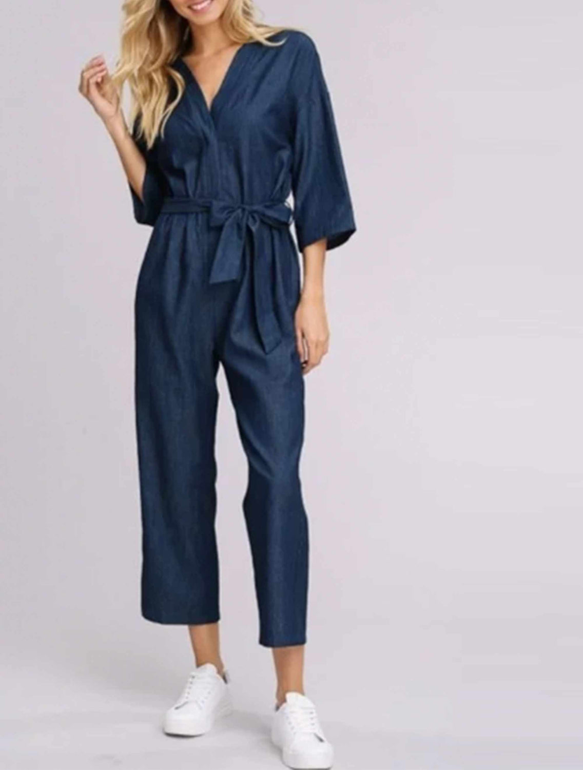 Jumpsuit with tie waist-5091
