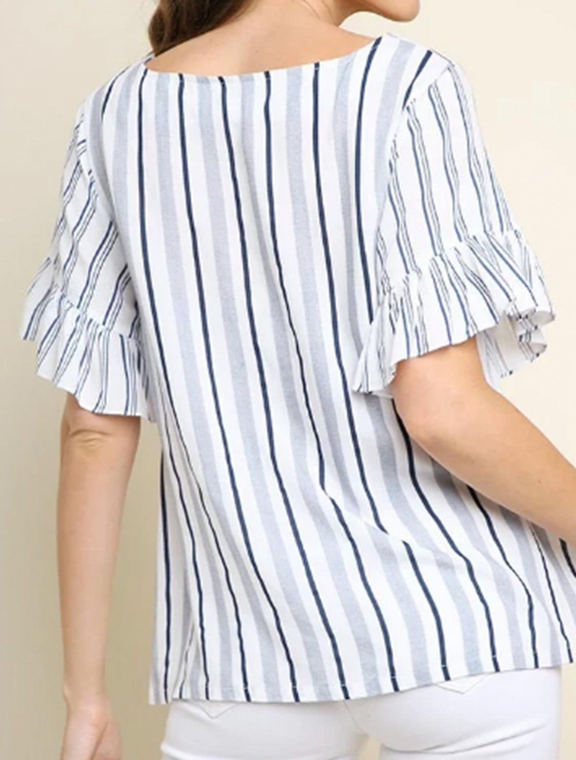 Stripe Short Sleeve Top-6204- Navy
