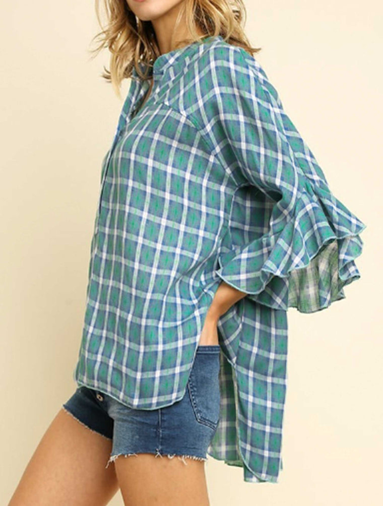Button Up Top-6205 in Mint