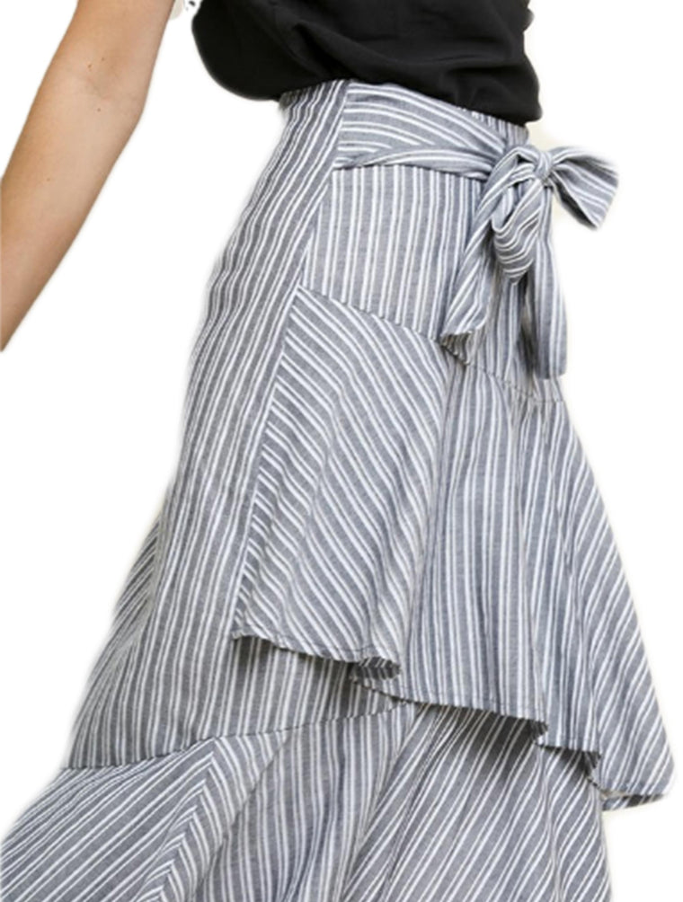 Stripe Skirt-9020-Black
