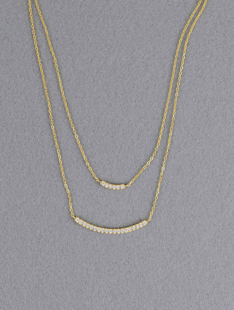 14K Double Strand Necklace-J145