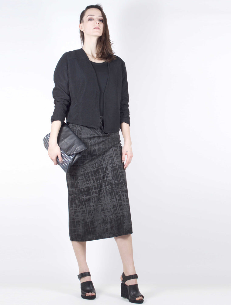 Skirt 9019P in Black and Gunmetal Print