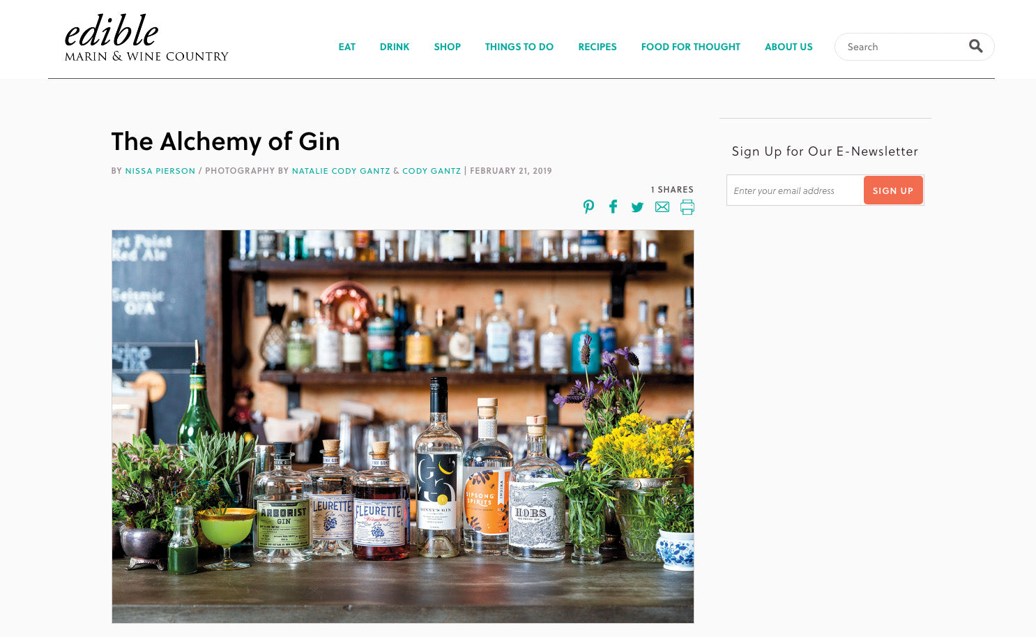 Edible Marin and Sonoma County The Alchemy of Gin