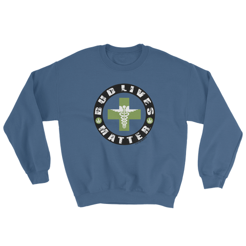 Bud Lives Matter-Circle Green Med-Cross Sweatshirt