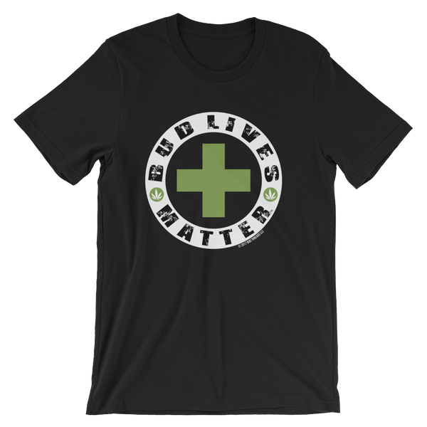 Bud Lives Matter-Circle Green Cross Reverse Short-Sleeve Unisex T-Shirt