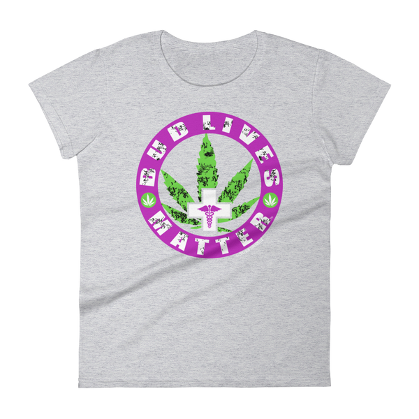 Bud Lives Matter-Purple Circle Med Cross Women's short sleeve t-shirt