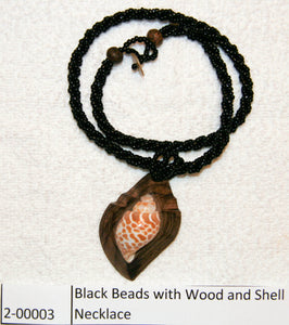 Black Beads with Wood and Shell Necklace