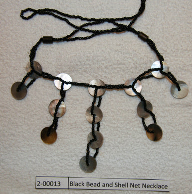 Black Bead and Shell Necklace