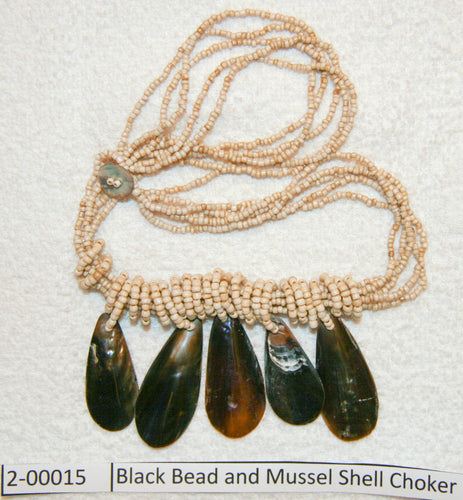 Black Bead and Mussel Shell Choker